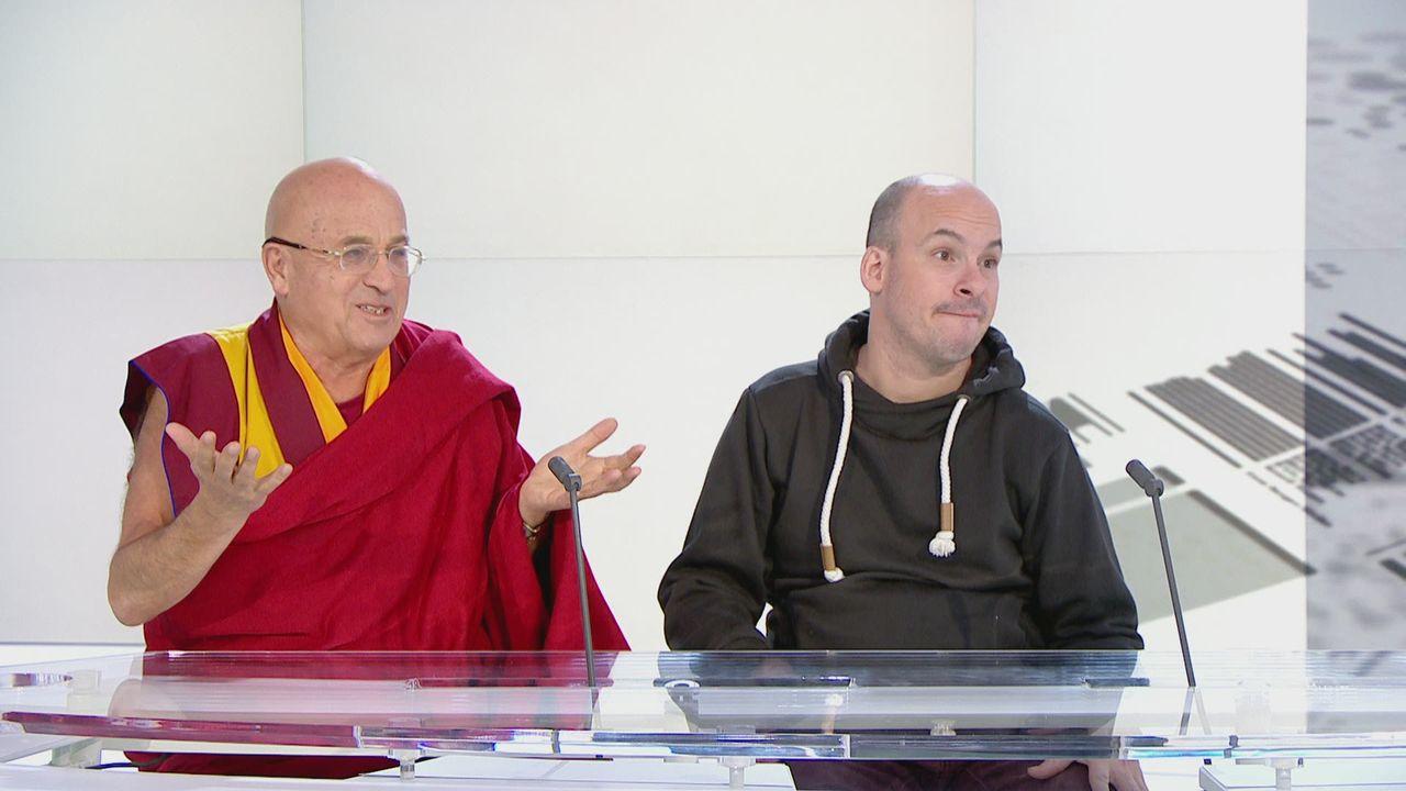 Les philosophes Matthieu Ricard et Alexandre Jollien réagissent aux manifestations de jeunes. [RTS]