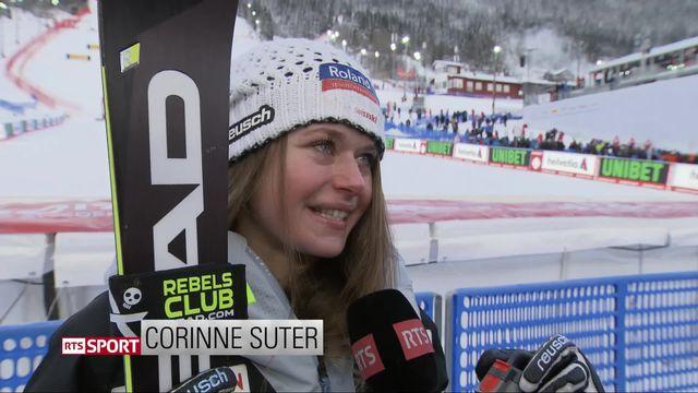 Are (SWE), Super G dames: l'émotion de Corinne Suter après sa médaille de bronze [RTS]