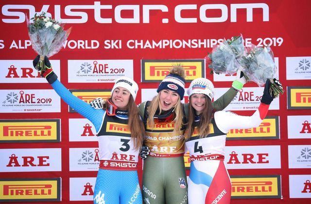 Corinne Suter obtient la médaille de bronze au championnats du monde. [Dominik Angerer - Keystone/APA/Expa]