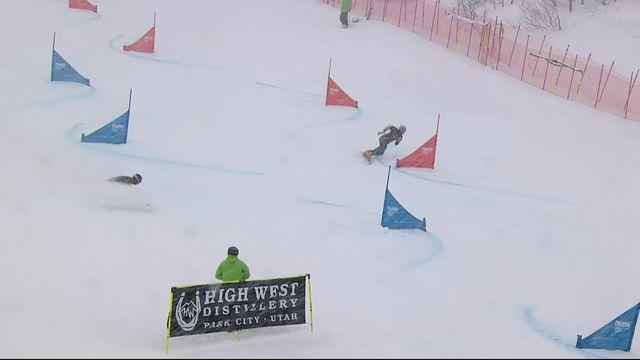 Park City (USA), snowboard slalom parallèle messieurs: grosse erreur de Dario Caviezel (SUI) qui s'arrête en 1-8 [RTS]