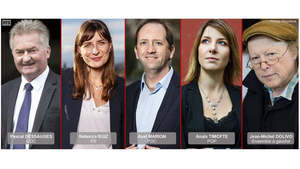 Cinq candidats sont en lice pour le premier tour de l'élection complémentaire du 17 mars dans le canton de Vaud. Ils briguent le siège laissé vacant par Pierre-Yves Maillard. [Keystone]