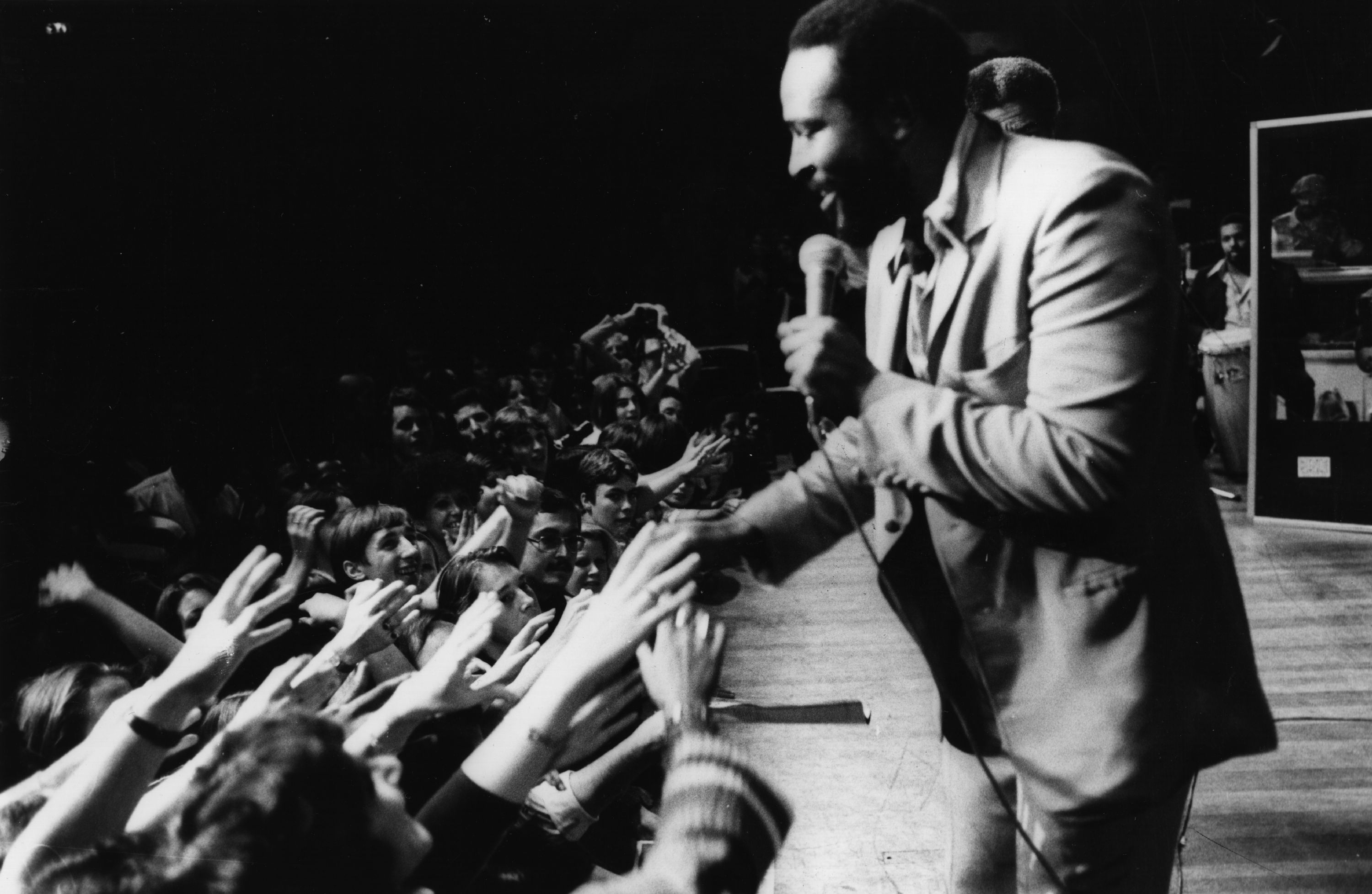 Marvin Gaye le 29 septembre 1976, lors d'un concert au Royal Albert Hall.