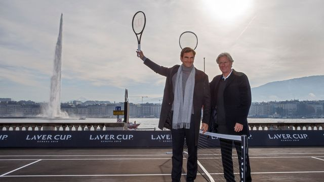 Roger Federer et Björn Borg étaient présents à Genève vendredi. [Salvatore Di Nolfi - Keystone]