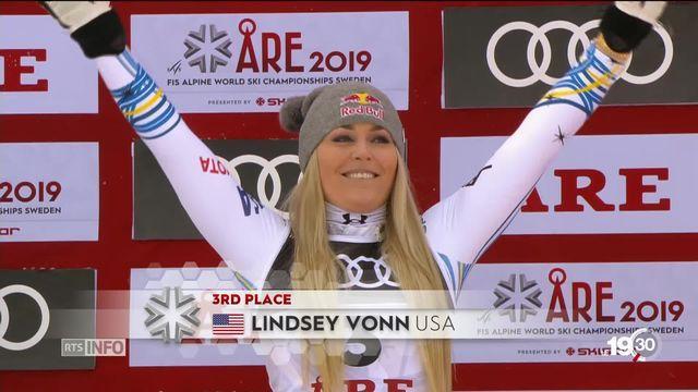 Lindsey Vonn, 3ème de la descente à Are en Suède, tire sa révérence après avoir remporté 82 victoires. [RTS]