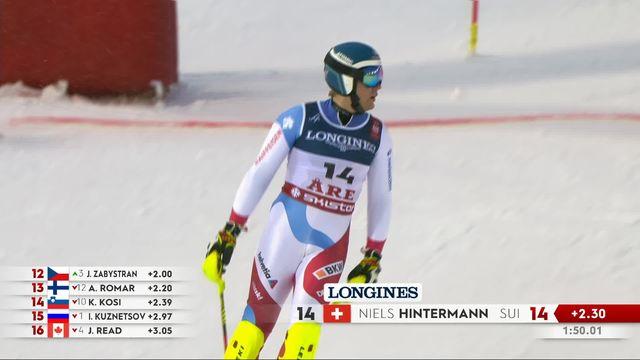 Are (SWE), combiné messieurs, slalom: le passage de Hintermann (SUI) [RTS]