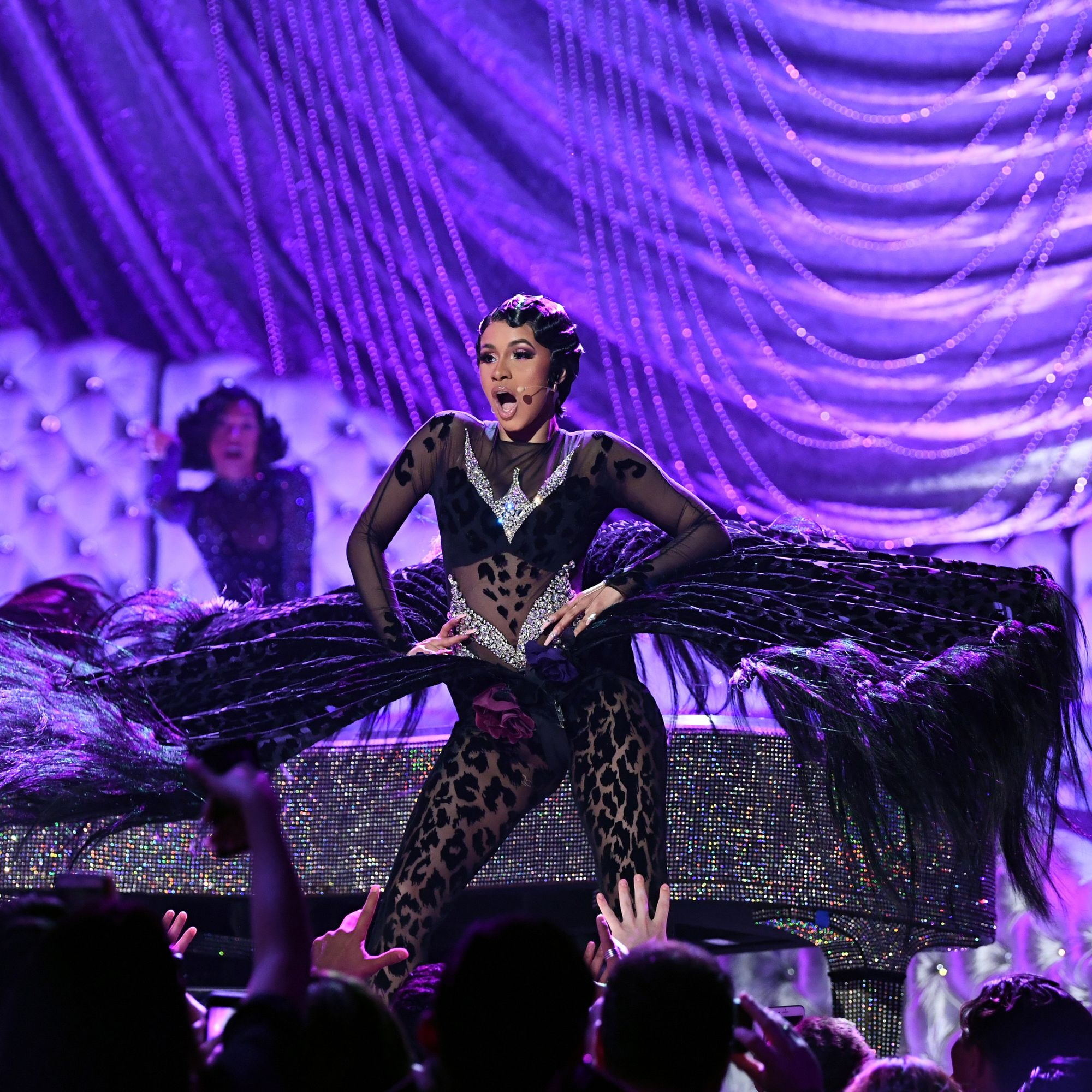 La rappeuse new-yorkaise Cardi B lors de sa performance aux Grammy Awards à Los Angeles, le 10 février 2019.