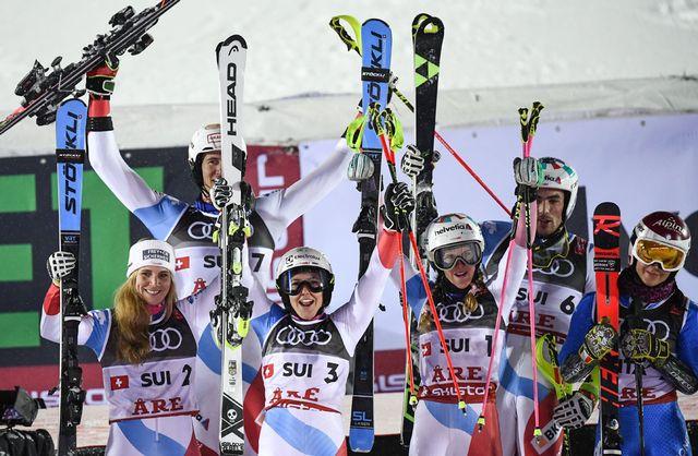 L'équipe suisse a remporté l'épreuve par équipe le 12 février aux Championnats du monde d'Are. [Jonathan Nackstrand - AFP]