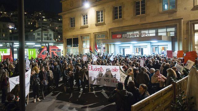 Une manifestation de désobéissance civile à Neuchâtel en novembre 2015. [Stefan Meyer - Keystone]