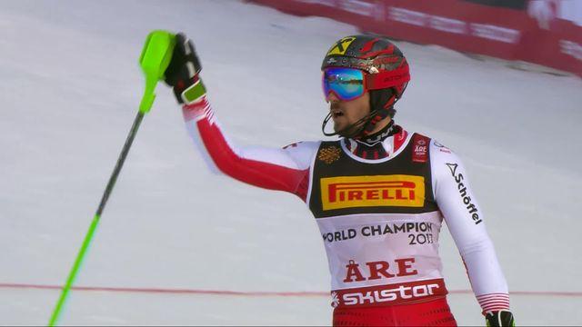 Are (SWE), slalom messieurs, 1re manche: Marcel Hirscher (AUT) [RTS]