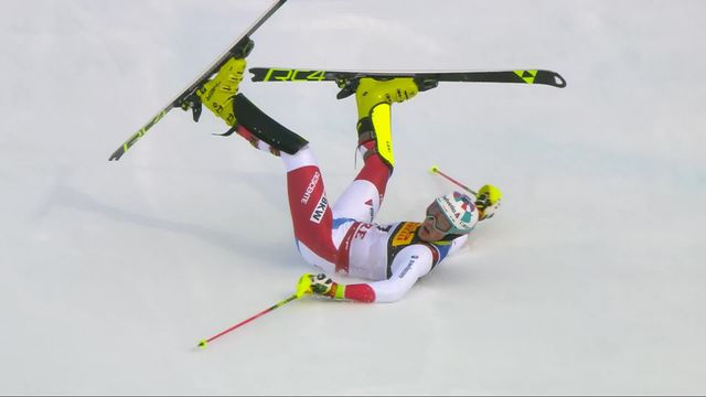 Are (SWE), slalom messieurs, 1re manche: Daniel Yule (SUI) [RTS]