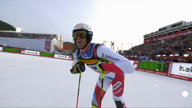 Are (SWE), slalom messieurs, 1re manche: Ramon Zenhaeusern (SUI) [RTS]