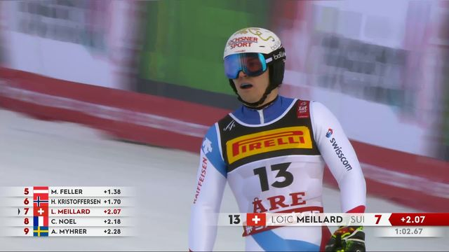 Are (SWE), slalom messieurs, 1re manche: Loic Meillard (SUI) [RTS]