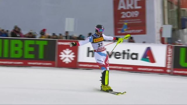 Are (SWE), slalom messieurs, 1re manche: Tanguy Nef (SUI) [RTS]