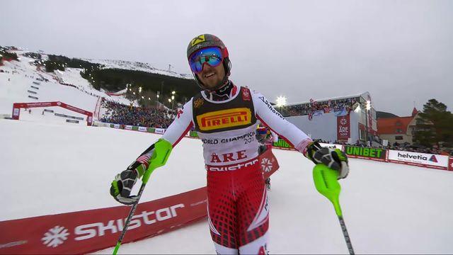 Are (SWE), slalom messieurs, 2e manche: Marcel Hirscher (AUT) [RTS]