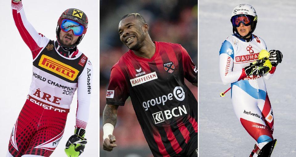 Le top-3 des 16-17 février: Marcel Hirscher, Geoffroy Serey Die, Wendy Holdener. [J-C.Bott/E.Leanza/J-C.Bott - Keystone]