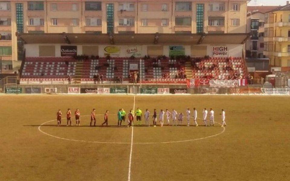 Seuls sept joueurs de Pro Piacenza étaient présents sur la pelouse au coup d'envoi. [Twitter]