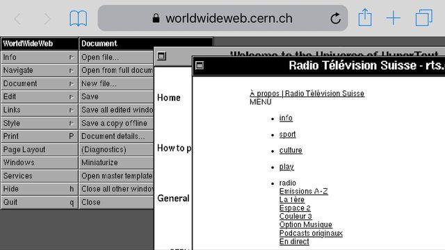 La page d'accueil du site de la RTS tel qu'il s'affiche via le navigateur du CERN. [RTS]