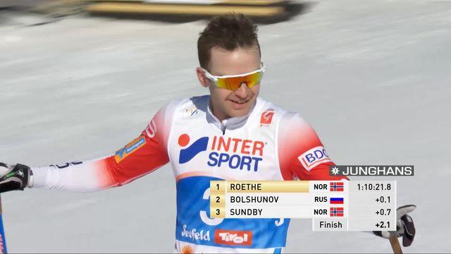 Mondiaux de Seefeld, skiathlon 30km messieurs: Sjur Roethe (NOR) en or devant Bolshunov (RUS) et Sundby (NOR). Cologna 14ème [RTS]