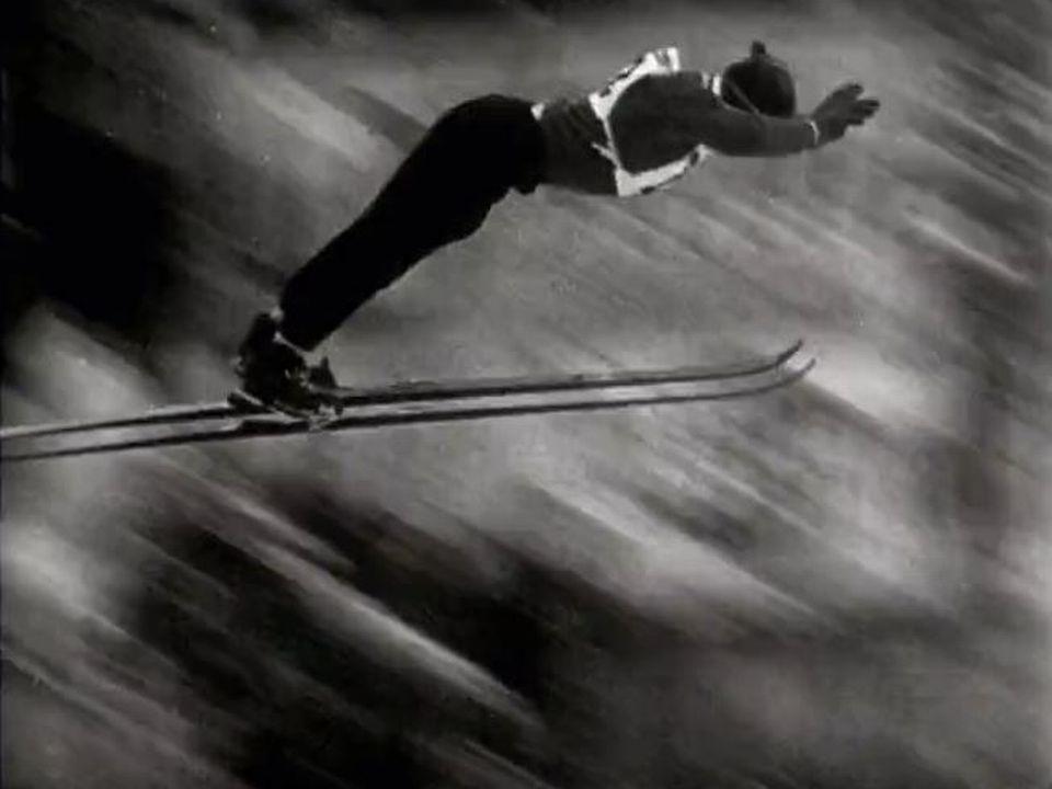 Saut à ski depuis le tremplin de la Chirurgienne au Brassus en 1958. [RTS]