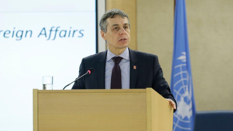 Ignazio Cassis devant le Conseil des droits de l'homme, lundi 25.02.2019 à Genève.