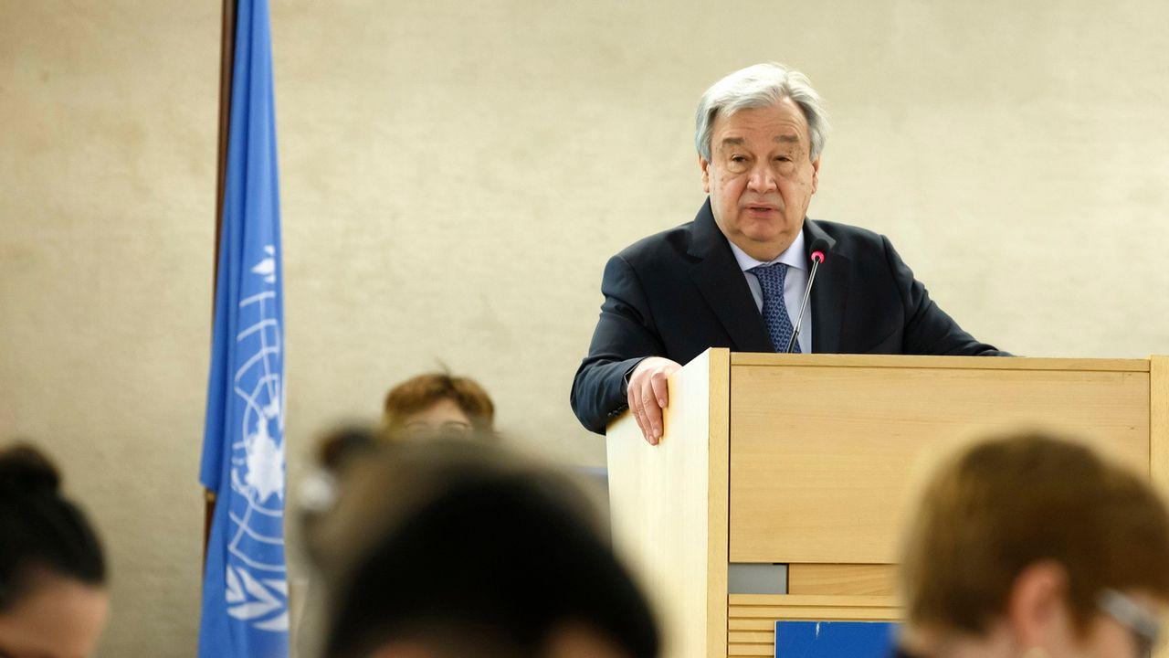 Le secrétaire général de l'ONU Antonio Guterres ouvre la 40e session du COnseil des droits de l'homme. [Salvatore Di Nolfi/EPA - Keystone]