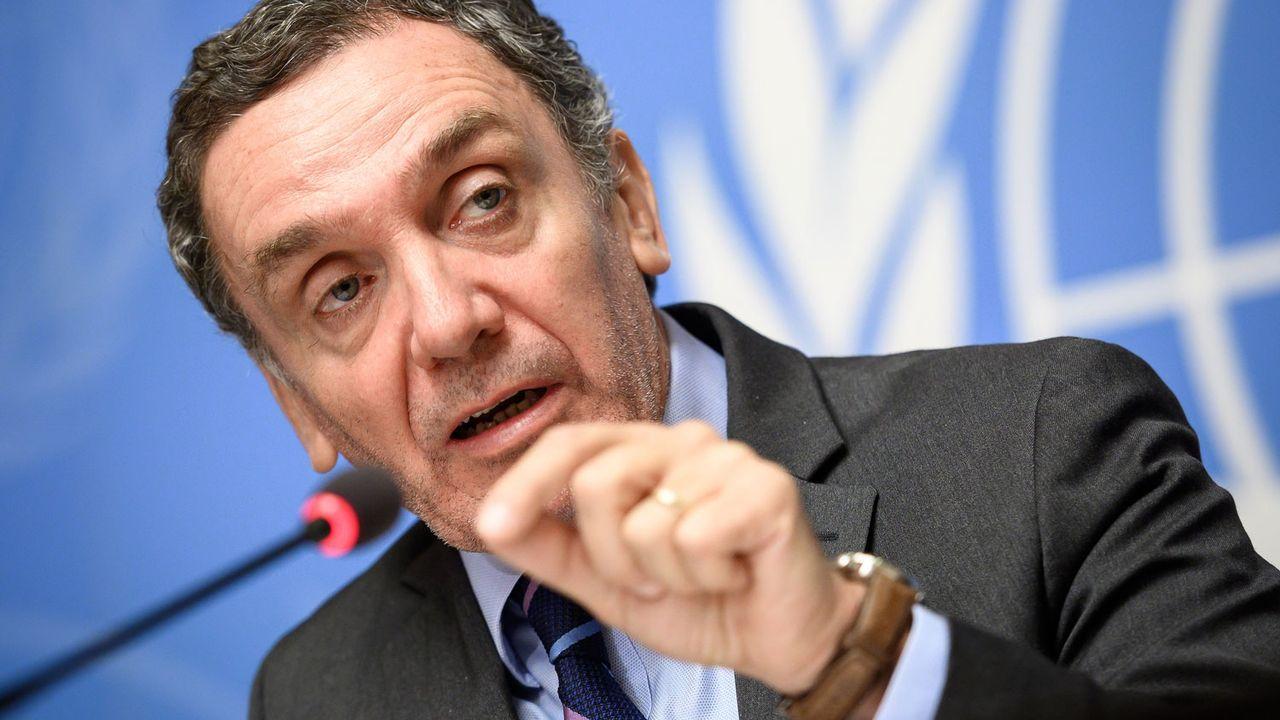 Le chef de la commission indépendante de l'ONU Santiago Canton à Genève, 28.02.2019. [Fabrice Coffrini - AFP]