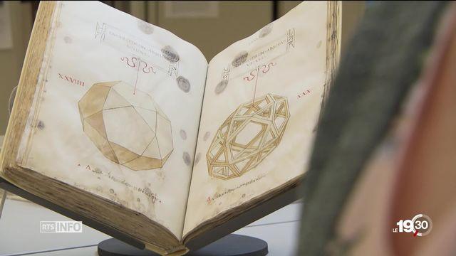 Un manuscrit certainement illustré par Léonard de Vinci dévoilé par la Bibliothèque de Genève. [RTS]