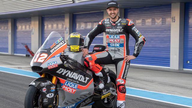 La moto de Lüthi sera propulsée cette saison par un moteur Triumph. [Marcel Bieri - Keystone]