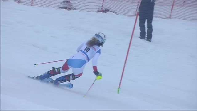 Spindleruv Myln (CZE), slalom dames 1re manche: Aline Danioth (SUI) [RTS]