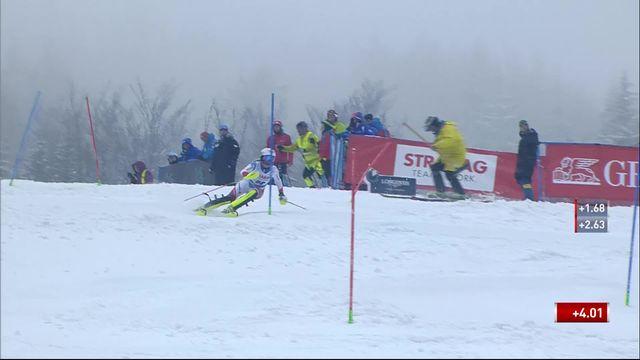 Spindleruv Myln (CZE), slalom dames 1re manche: Charlotte Chable (SUI) et Camille Rast (SUI) [RTS]