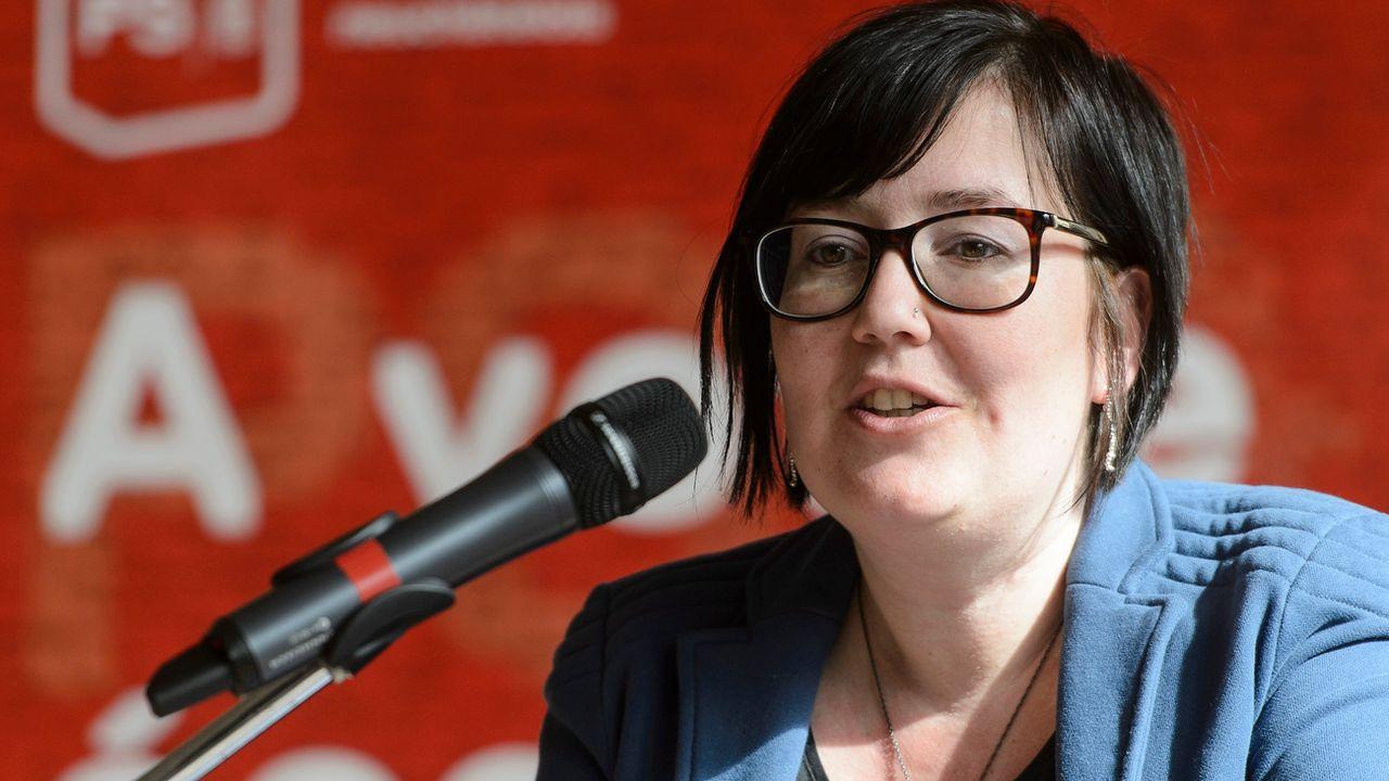Martine Docourt, co-présidente des femmes socialistes suisses, candidate au Conseil des Etats neuchâtelois. [Jean-Christophe Bott - Keystone]