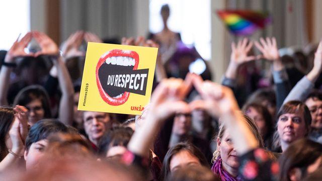 Les participantes aux Assises nationales de la grève féministe du 14 juin prochain. [Adrien Perritaz - Keystone]