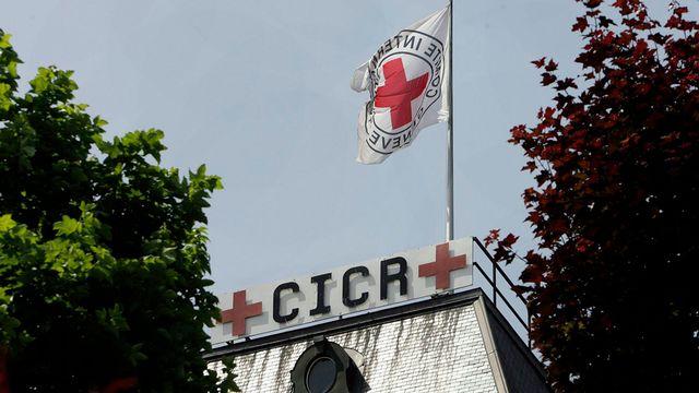 Le drapeau du CICR, à Genève. [Martial Trezzini - Keystone]
