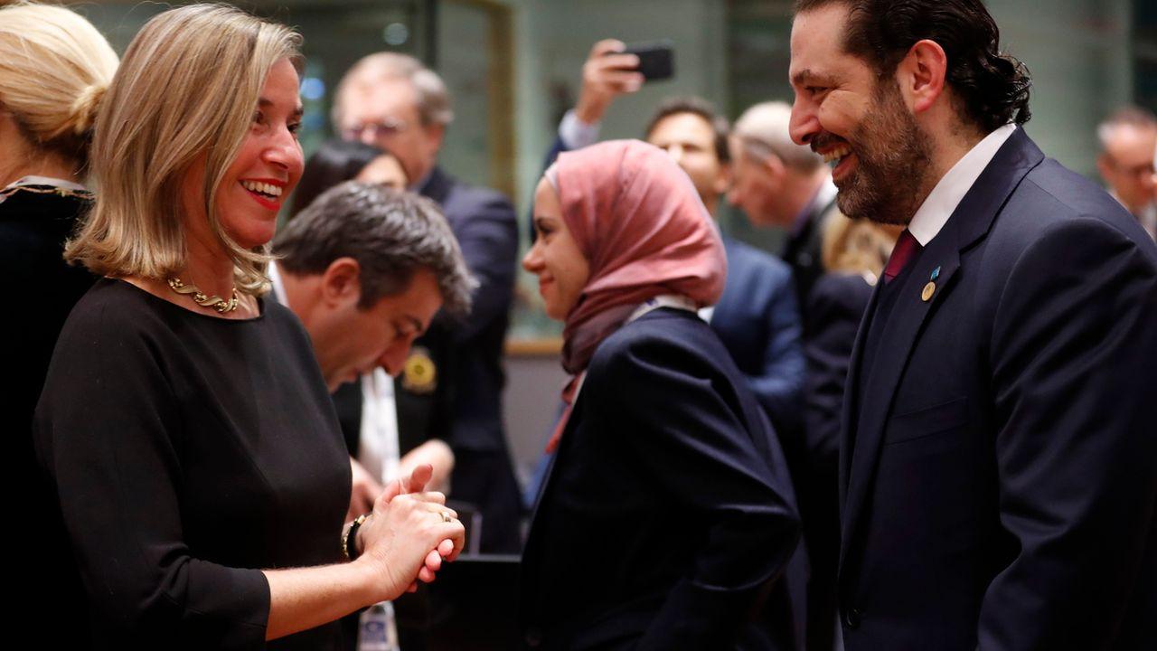 La cheffe de la diplomatie européenne Federica Mogherini (gauche) en compagnie du Premier ministre libanais Saad Hariri. à Bruxelles, ce 14 mars 2019. [OLIVIER HOSLET - EPA]