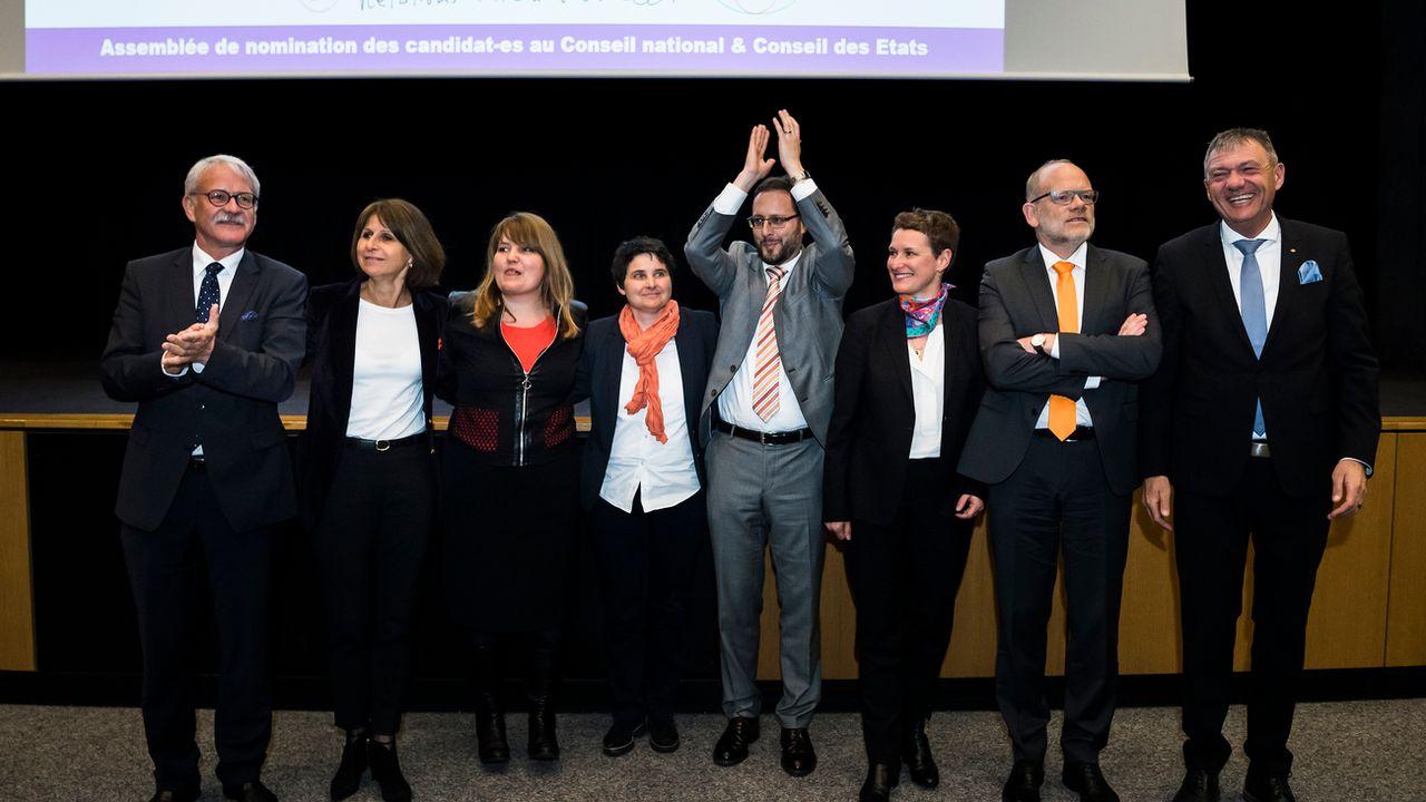 Les candidats du PDC Fribourg pour les élections fédérales de 2019. [Jean-Christophe Bott - Keystone ]