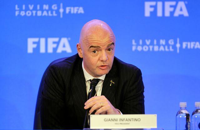 Le président de la FIFA Gianni Infantino durant une conférence de presse à Miami. [Keystone]