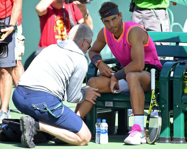 Nadal s'est imposé en quarts mais il a ressenti des douleurs à son genou droit. [Jayne Kamin-Oncea - Reuters]