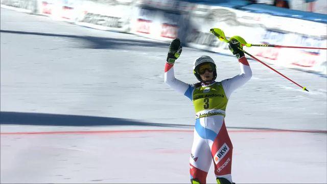 Soldeu (AND), Slalom dames, 1re manche: 1re place provisoire pour Holdener (SUI) [RTS]
