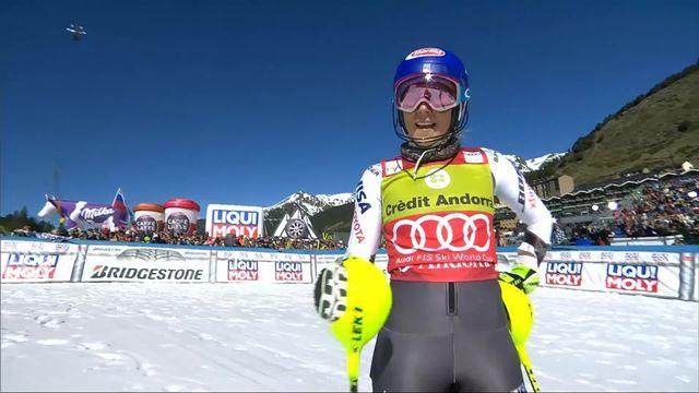Soldeu (AND), Slalom dames, 1re manche: la 2e place pour Shiffrin (USA) [RTS]