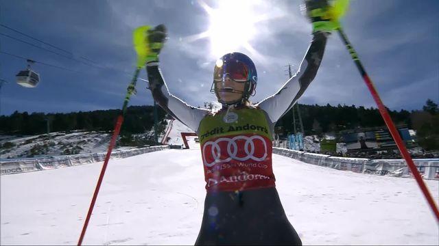Soldeu (AND), Slalom dames, 2e manche: le passage de Shiffrin (USA) [RTS]