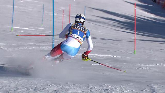 Soldeu (AND), slalom messieurs, 1re manche:  le passage de Ramon Zenhaeusern (SUI) [RTS]