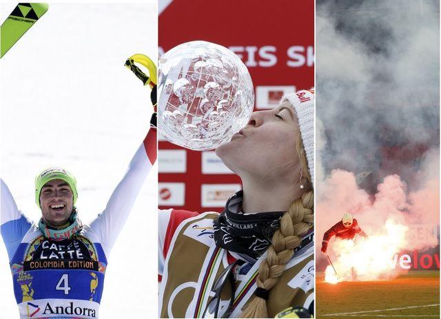 Le top-3 du week-end: Daniel Yule, Fanny Smith et les services du feu à Tourbillon. [C.Bruna/S.Di Nolfi - Keystone]