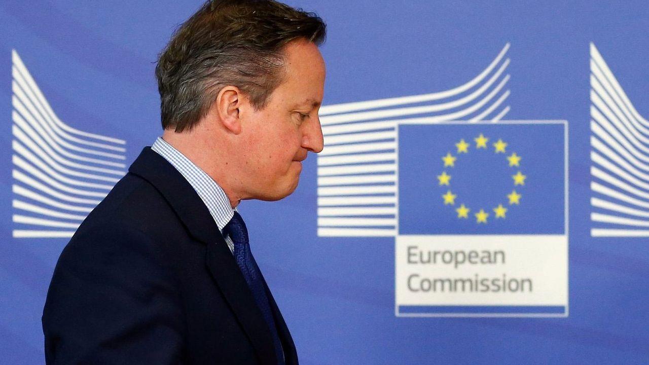 David Cameron, Premier ministre britannique, le 29 janvier 2016 lors de sa rencontre avec la Commission européenne à Bruxelles, quelques mois avant l'organisation du référendum sur le Brexit. [Laurent Dubrule - Keystone]