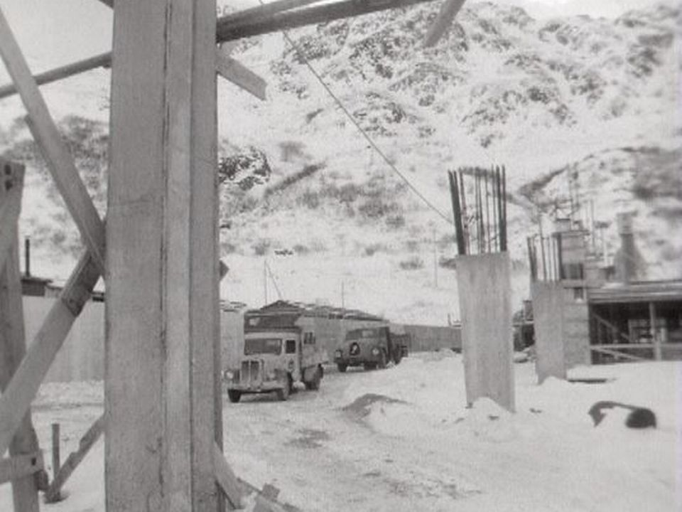 Le chantier du tunnel du Grand-Saint-Bernard en 1961. [RTS]