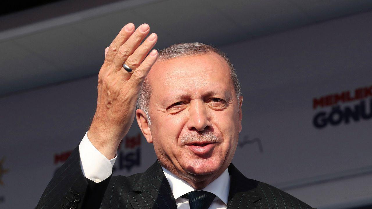 Le président turc Recep Tayyip Erdogan a évoqué l'attentat de Christchurch lors d'un discours le 19 mars. [Presidential Press Service via AP Pool]