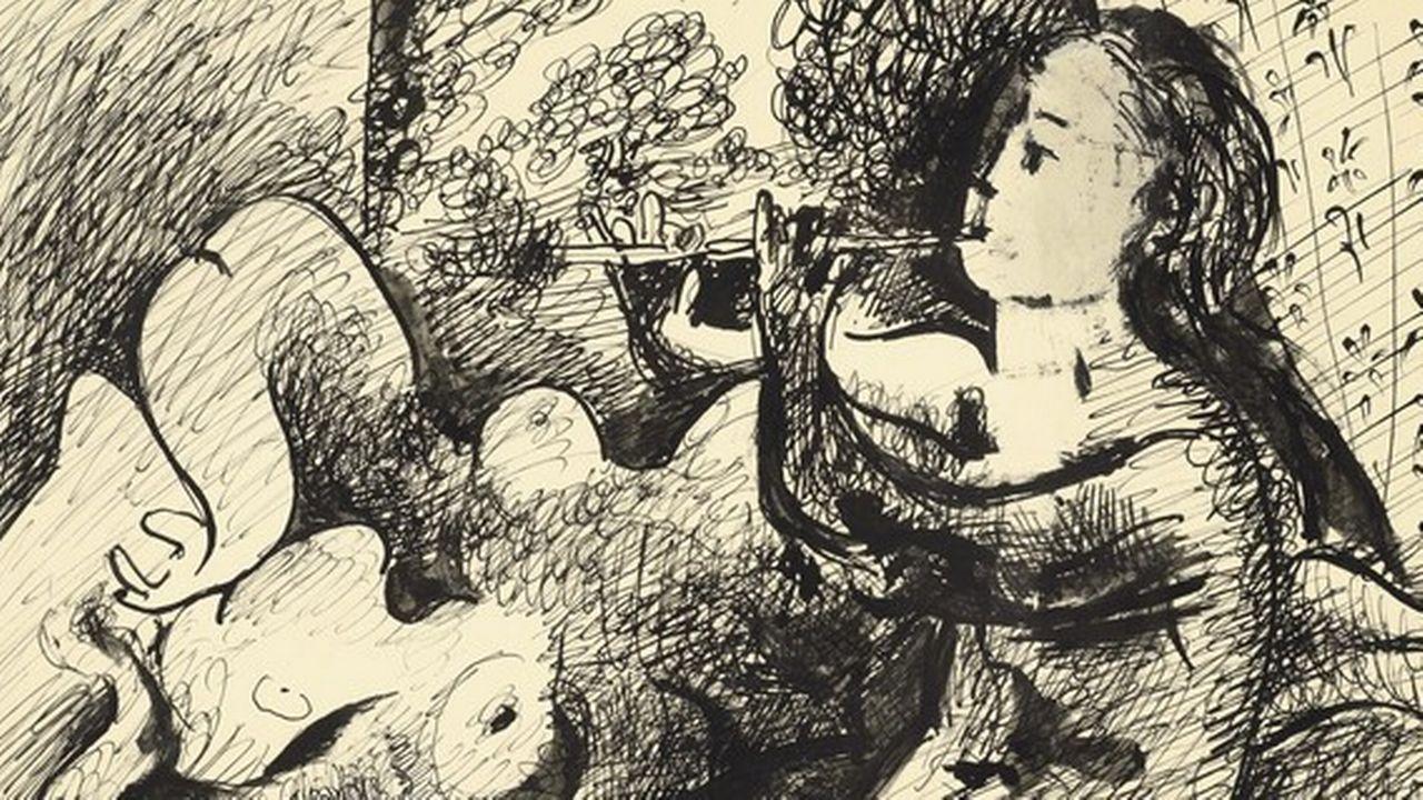 """Détail du dessin """"Joueuse de flûte et nu couché"""" de Pablo Picasso, exécuté à Paris le 22 octobre 1932.  [Christie's Images Ltd, 2019.]"""