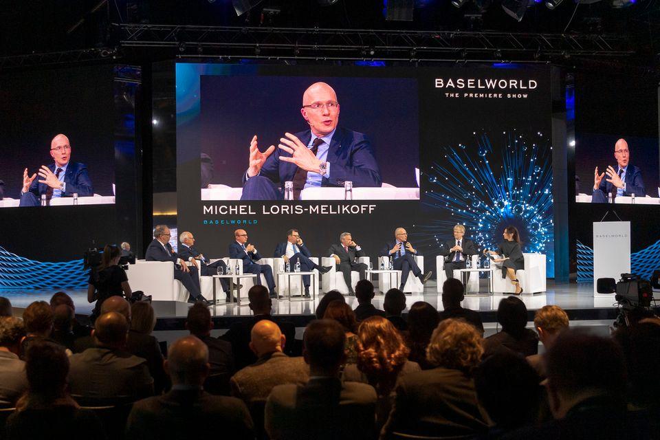 Michel Loris-Melikoff, patron de Baselworld, pendant la conférence de presse d'ouverture de la foire [Georgios Kefalas - Keystone]
