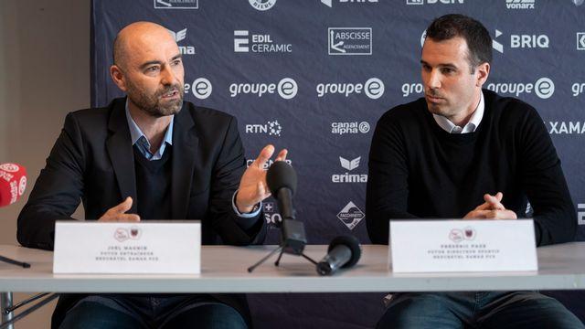Magnin et Page (de gauche à droite) vont reprendre les rênes du club de la Maladière. [Adrien Perritaz - Keystone]