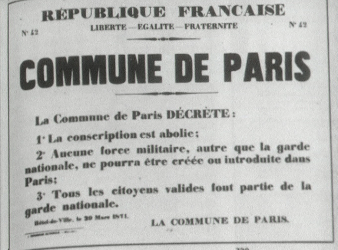 Publication de la Commune de Paris, 1871.