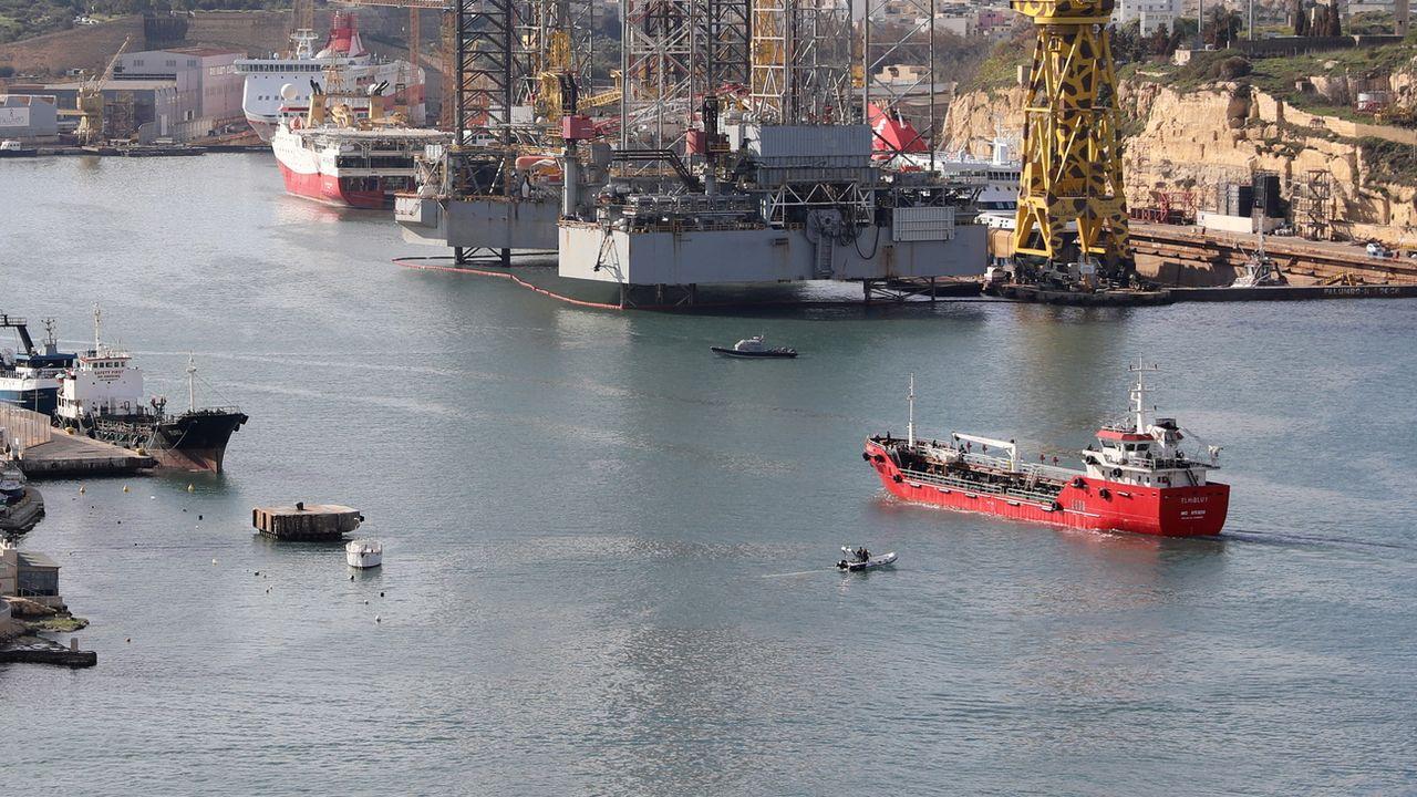 Le pétrolier Elhiblu a été détourné vers Malte par les migrants qu'il transportait. [Anne Aquilina - Keystone]